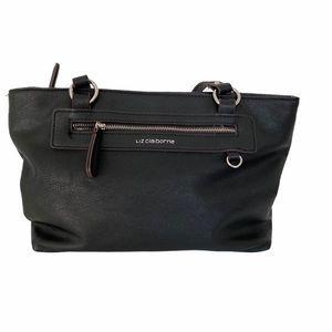 Liz Claiborne Faux Leather Black Tote Bag Purse